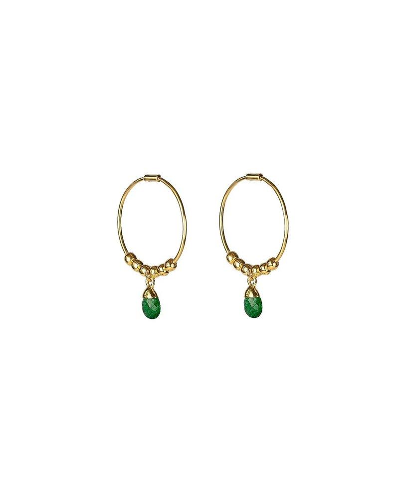 Syster P SysterP Mini Teardrop oorbellen | goud/groen