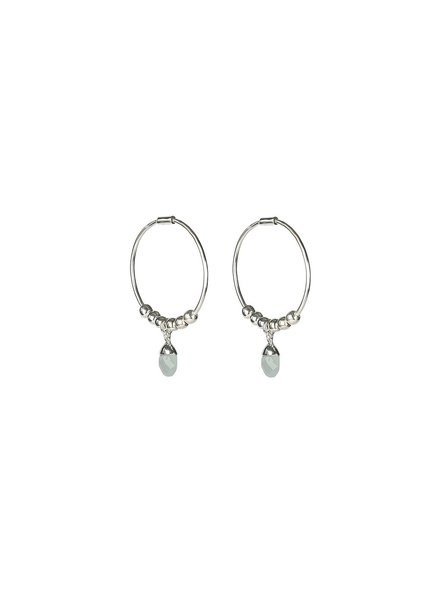 Syster P Mini Teardrop oorbellen | zilver/lichtblauw