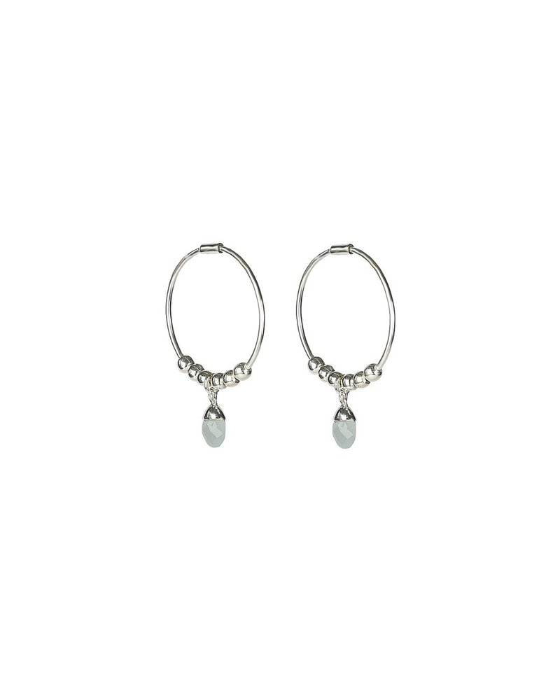 Syster P SysterP Mini Teardrop oorbellen | zilver/lichtblauw