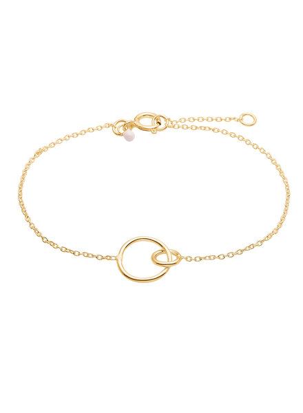 Enamel Double circle armband  | goud