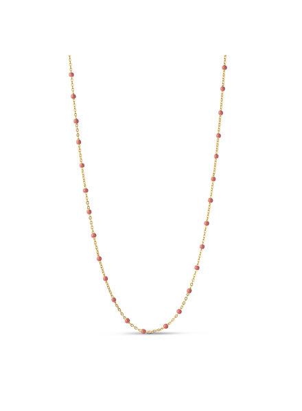 Enamel Lola ketting koraal roze | goud