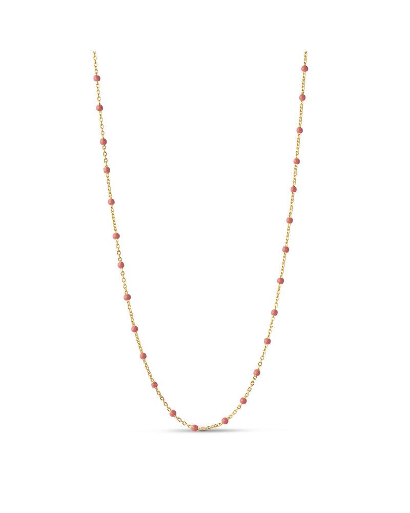 Enamel Enamel Lola ketting koraal roze | goud