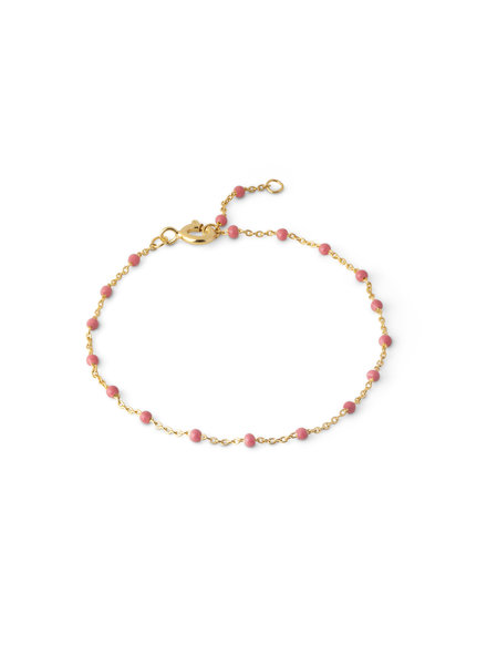 Enamel Lola armband koraal roze | goud