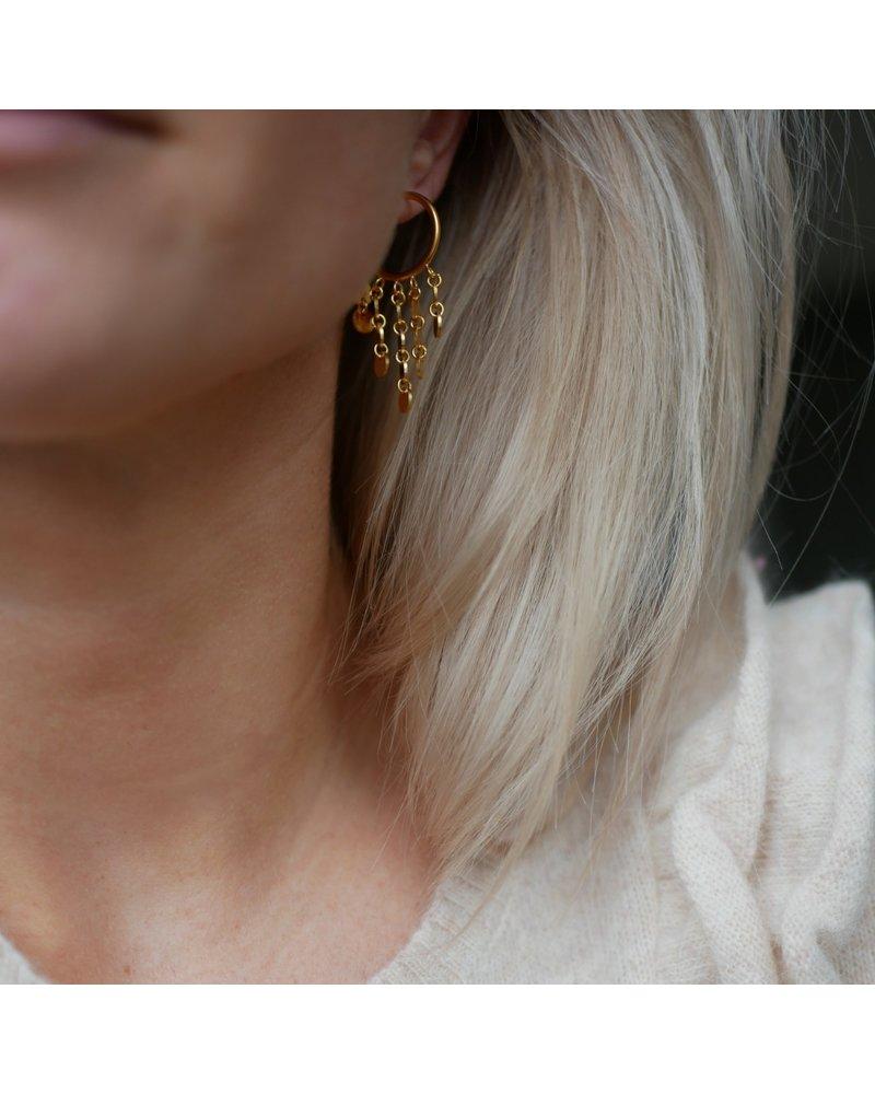 Enamel Enamel Waterdrops oorbellen | mat goud