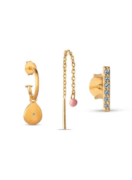 Enamel Golden drops (set van 3 oorbellen) | goud