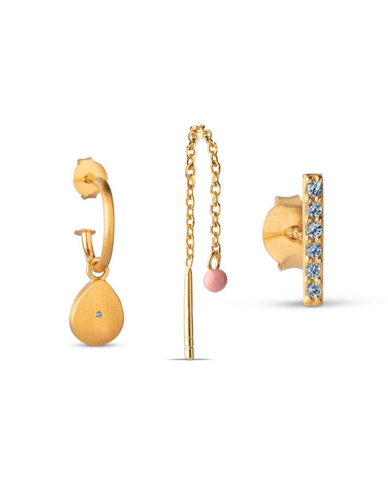Enamel Enamel box Golden drops oorbellenset | goud