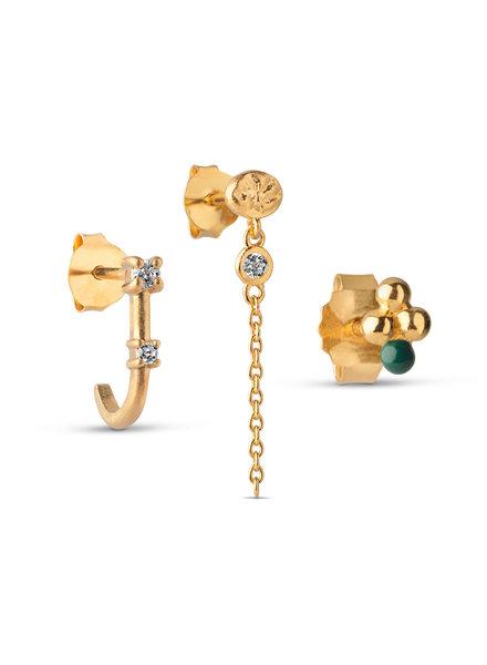 Enamel Crystal (set van 3 oorbellen) | goud