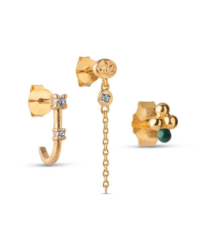 Enamel Enamel box Crystal oorbellenset   goud