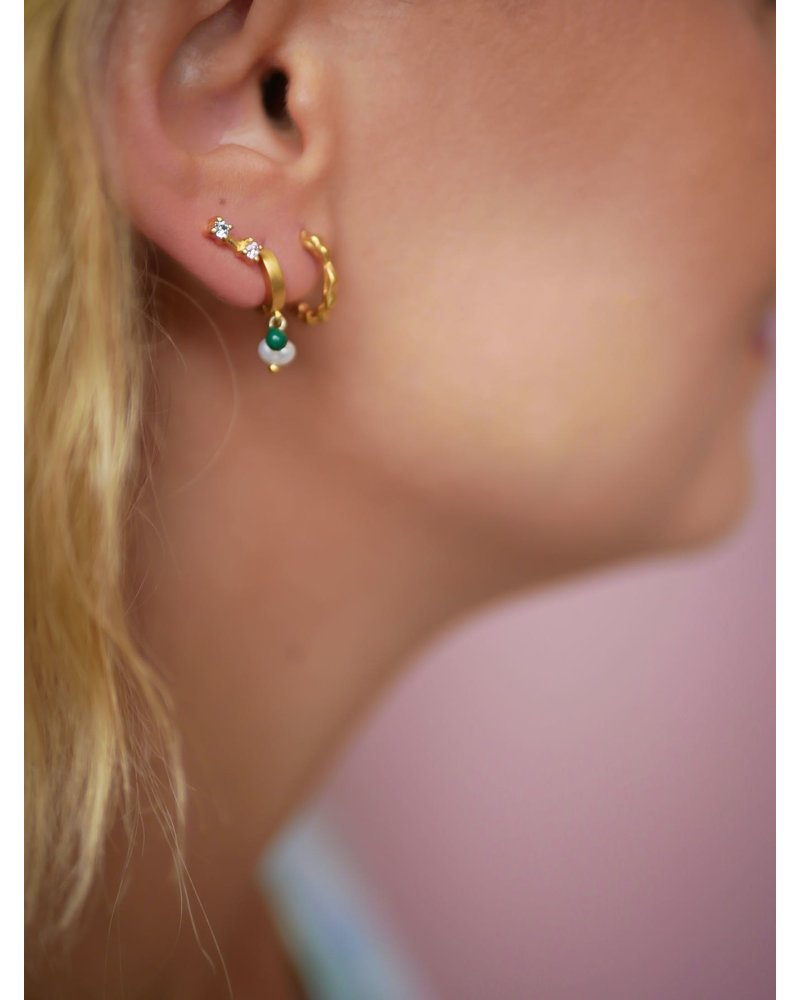 Enamel Enamel box Wavy  oorbellenset | goud