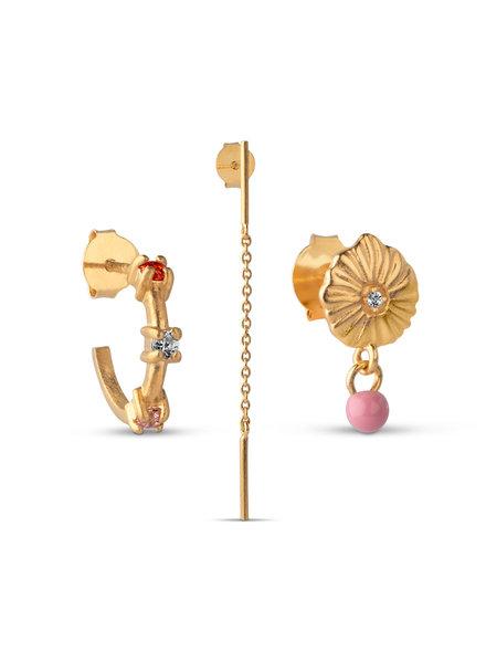 Enamel Box Flamingo (set van 3 oorbellen) | goud