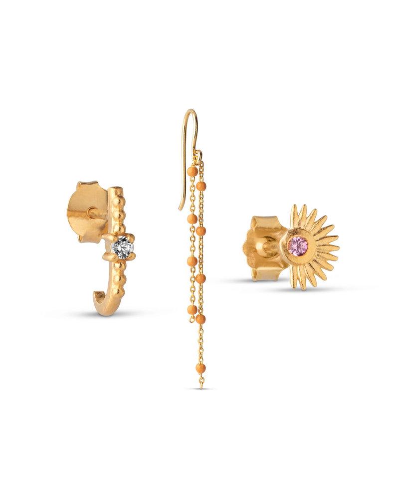 Enamel Enamel box Orange oorbellenset   goud