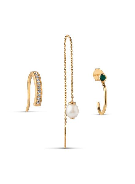 Enamel Box Pearl (set van 3 oorbellen) | goud