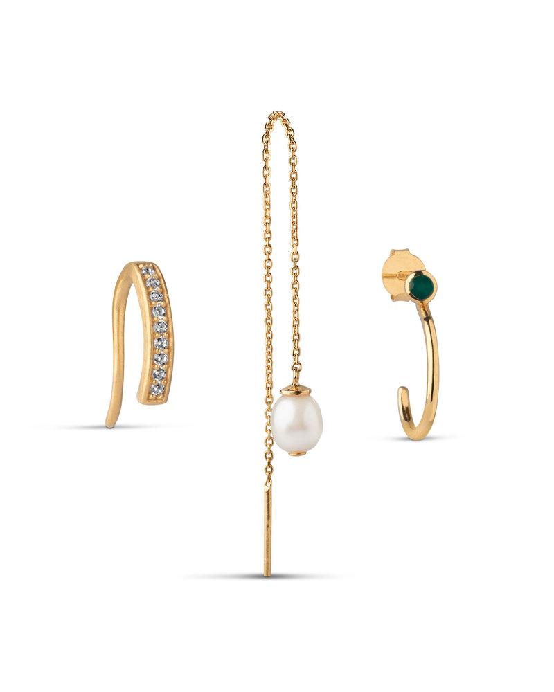Enamel Enamel box Pearl oorbellenset | goud