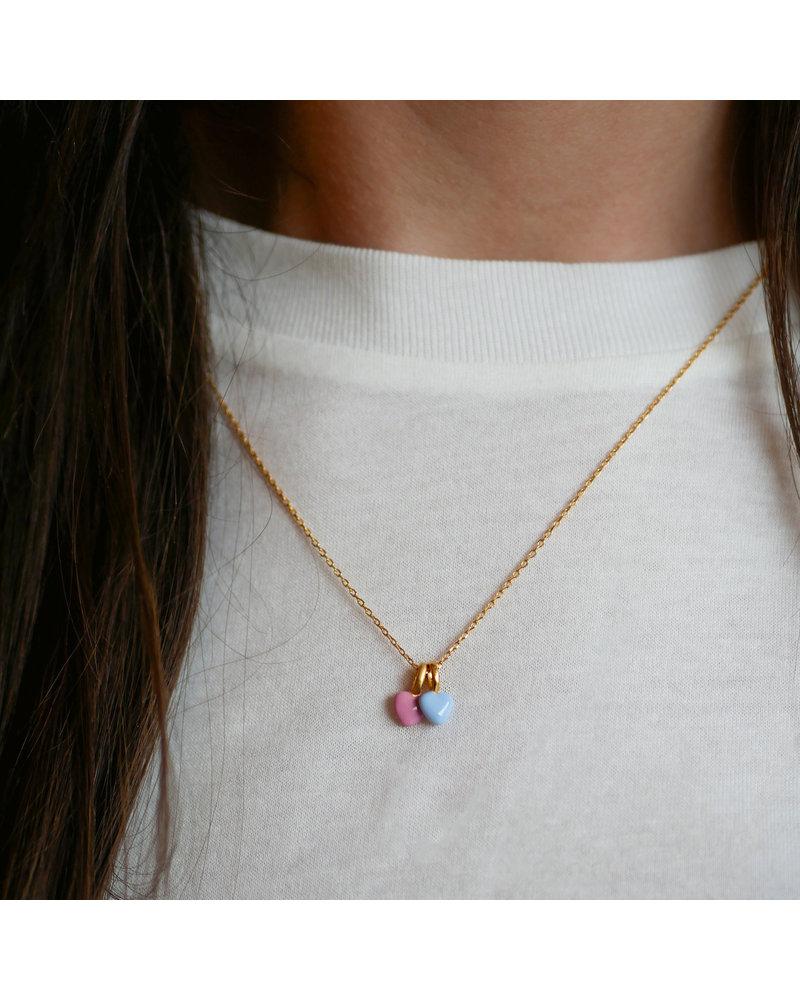Enamel Enamel heart ketting roze | goud