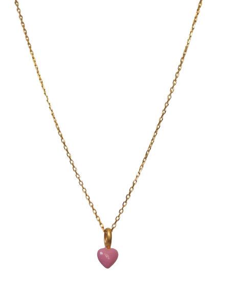 Enamel Heart ketting roze | goud