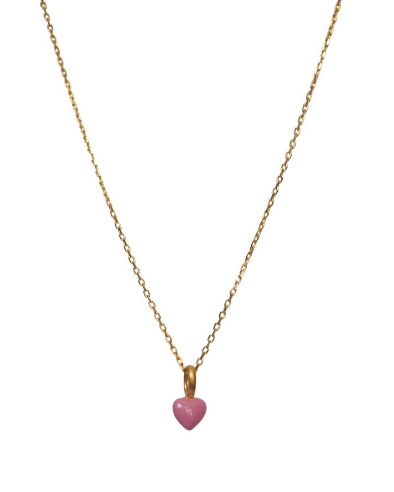 Enamel Enamel heart ketting kleur roze | goud