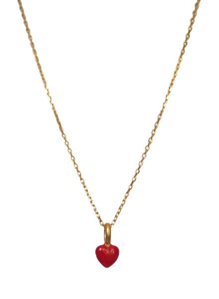 Enamel Heart ketting rood   goud