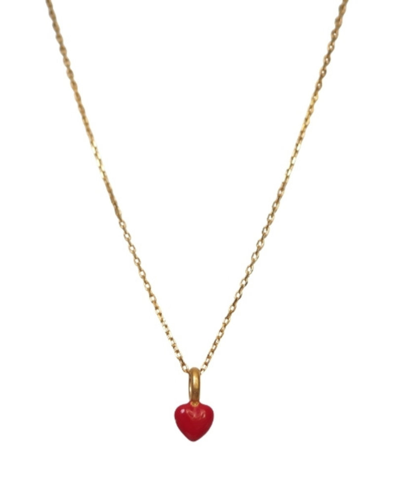 Enamel Enamel heart ketting kleur ruby   goud
