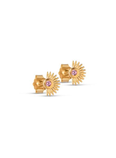 Enamel Petite soleil oorbellen | goud