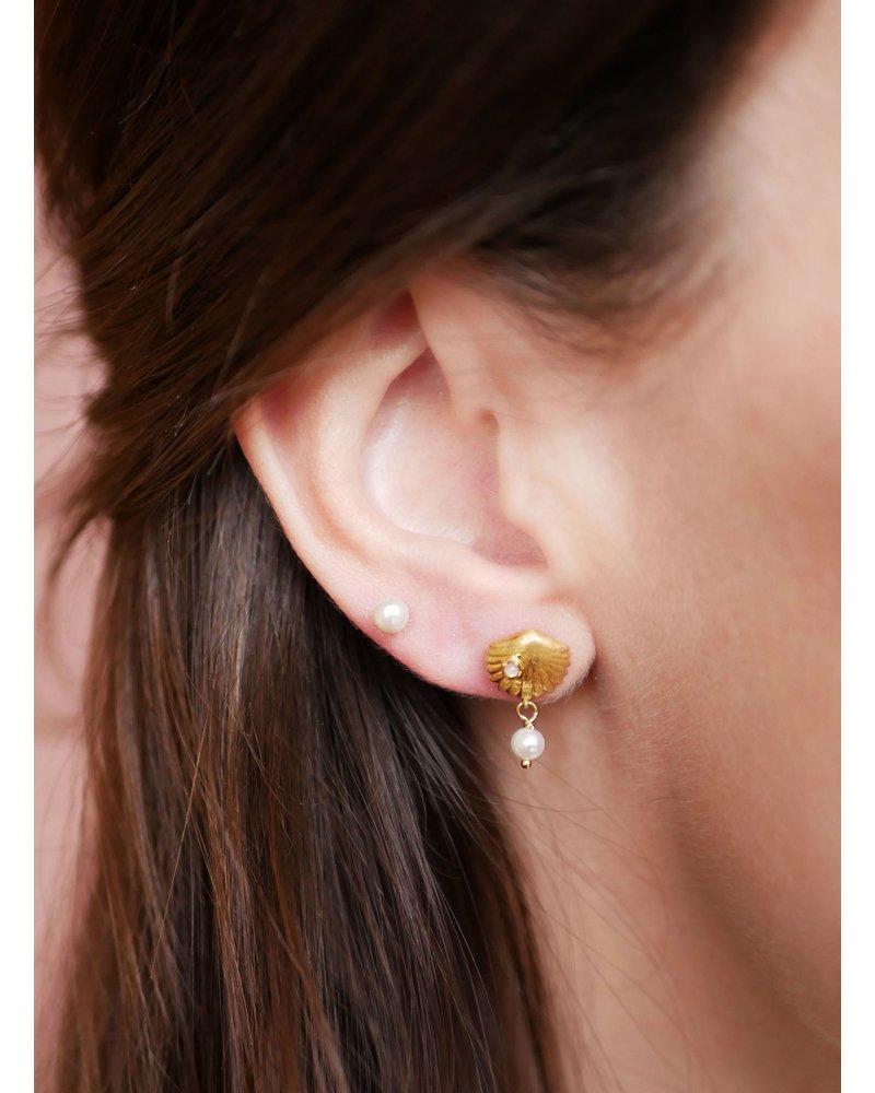 Enamel Enamel Bay Scallop oorbellen | goud