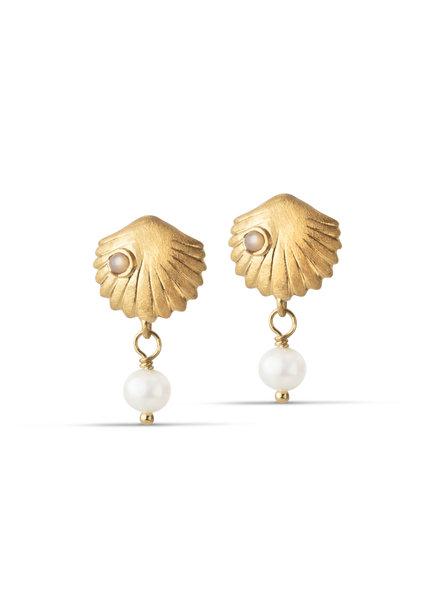 Enamel Bay scallop oorbellen | goud