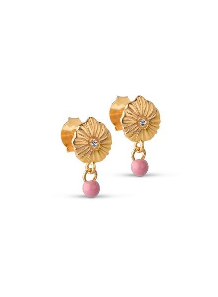 Enamel Mini Sparkling shell oorbellen | goud