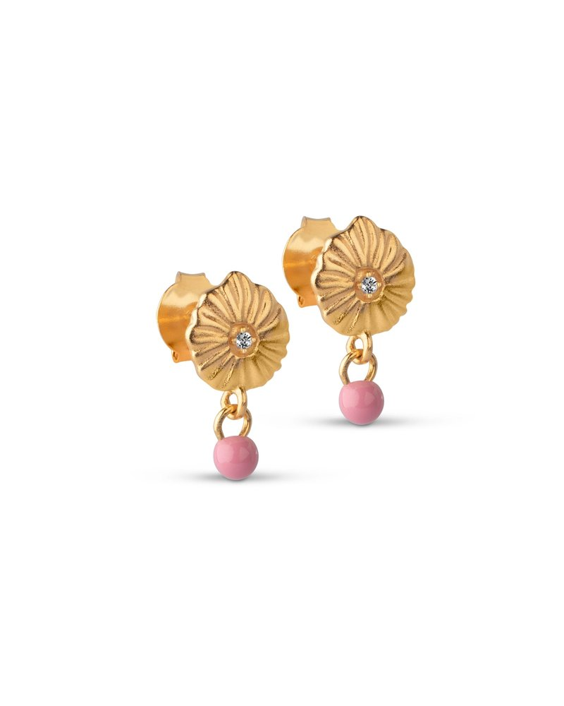 Enamel Enamel Mini Sparling shell oorbellen | goud