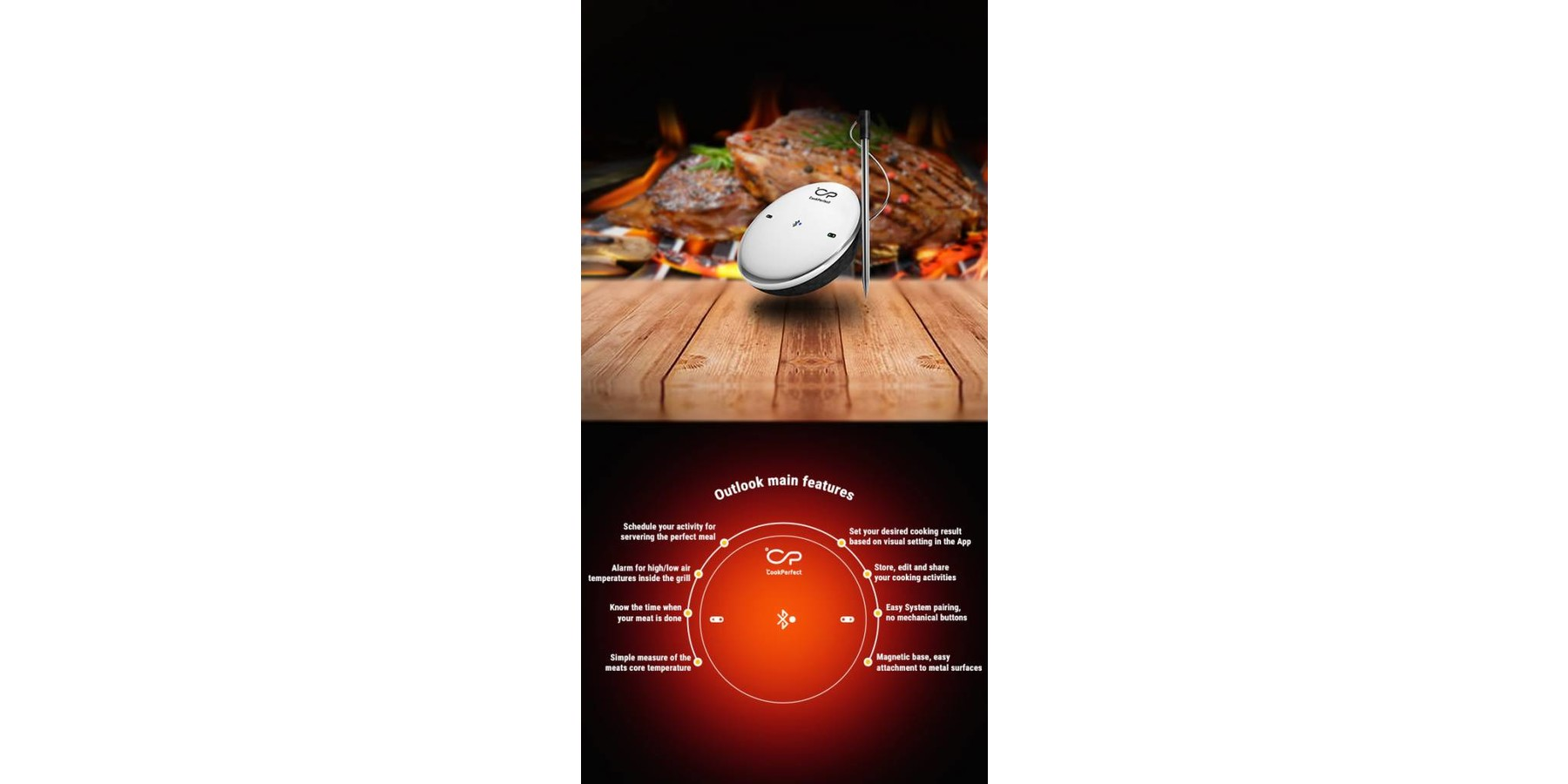 CookPerfect bluetooth vlees-en bbq thermometer