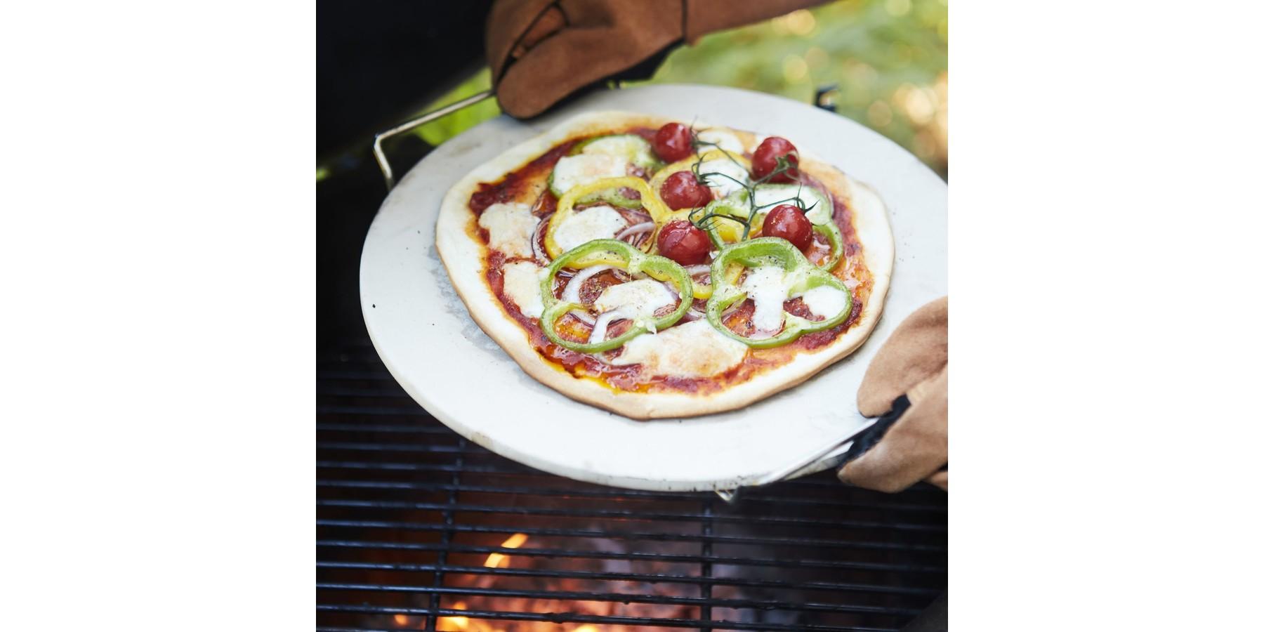 Pizzasteen met metalen houder