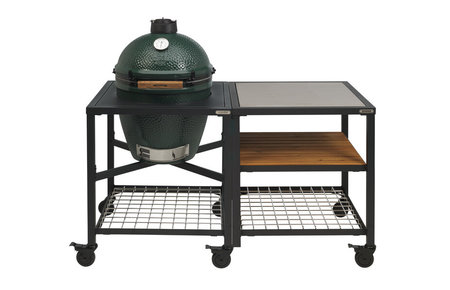 Big Green Egg Medium in Egg Frame + Expansion Frame SS-Wood-Grid