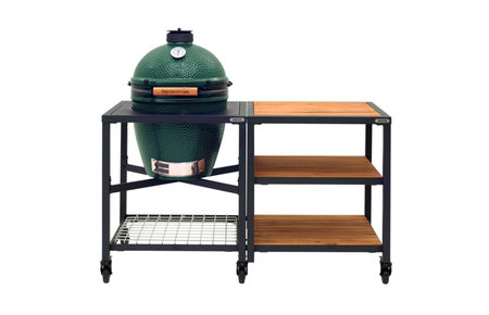 Big Green Egg Medium in Egg Frame + Expansion Frame Wood-Wood-Wood