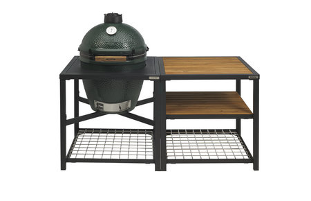 Big Green Egg Large in Egg Frame + Expansion Frame Wood-Wood-Wood