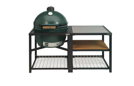 Big Green Egg XLarge in Egg Frame + Expansion Frame SS-Wood-Grid