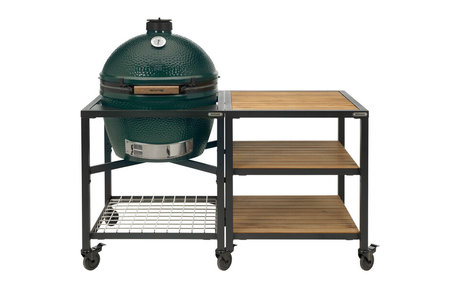 Big Green Egg XLarge in Egg Frame + Expansion Frame Wood-Wood-Wood