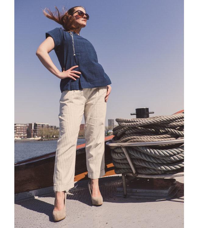 Katoenen broek wit & streepje