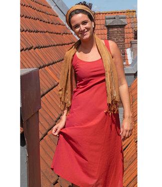 Upasana Red sleeveless dress organic cotton