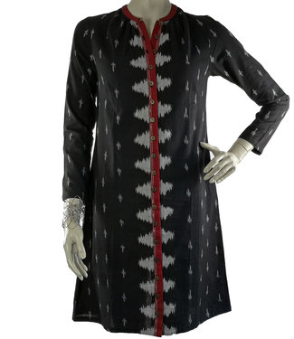 Upasana Cotton tunic black ikat