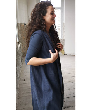 Oversized blauw vest, duurzame stof