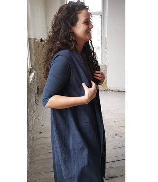 Oversized blue cape, sustainable fabric