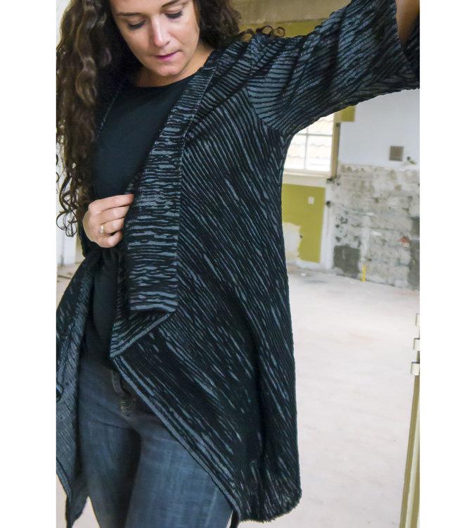 Black ladies cardigan velvet effect with wool and silk