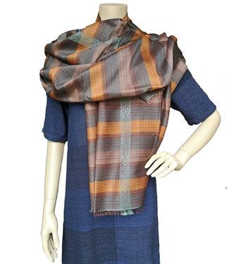Amba Sjaal zijde en wol, fair handgeweven