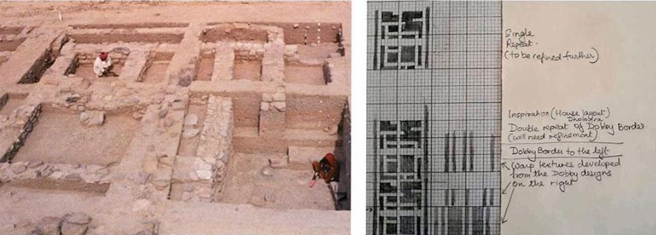 Ruïnes opgraving Harappa-beschaving en ontwerp Amba sjaal