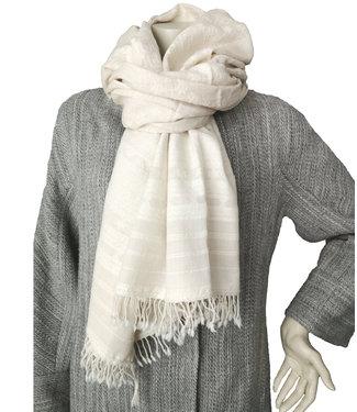 Sjaal wit, handgeweven wol en zijde