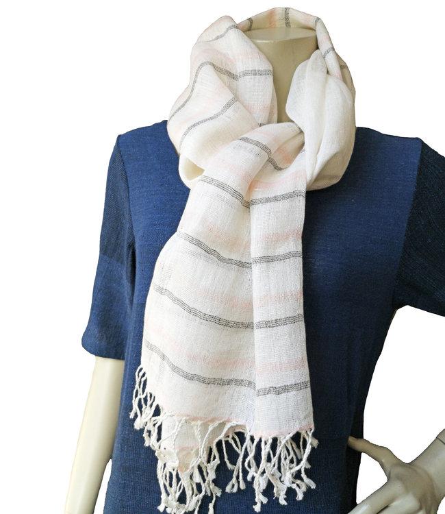 Avani Linnen sjaals in wit, lichtblauw of blauw