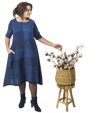 Tunic, indigo blue, organic cotton