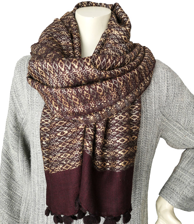 Shawl, purple brown with golden shine, wool and silk