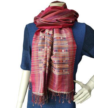 Zijden sjaal rood, handgeweven, natuurlijke kleuren