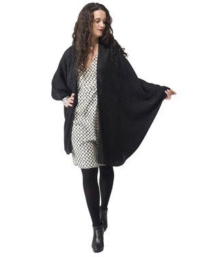 Oversized cardigan black, wool & silk