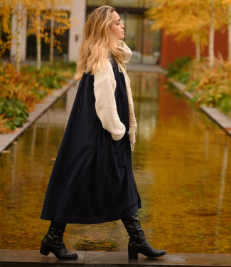 Oversized blue cardigan, bamboo and cotton