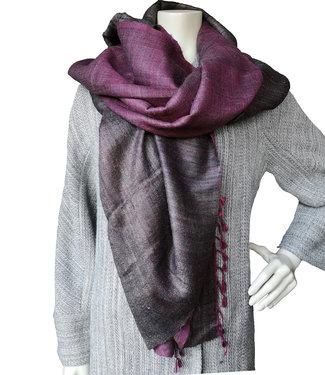 Sjaal bruin en roze wol en zijde